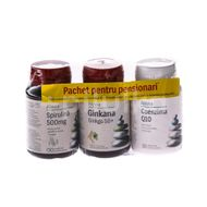 Pachet pensionari(Spirulina 500mg+Ginkana 50+ +Coenzima Q10 10 mg) 30+30+30