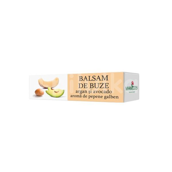 Balsam de buze cu Argan, Avocado și Pepene Galben, Manicos, 4.8 gr