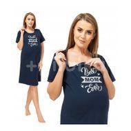 Qmini - Camasa de alaptat, S, Best Mom Ever, Navy Blue