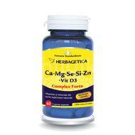 Ca+Mg+Se+Si+Zn Organice cu Vitamina D3, Herbagetica, 60 cps