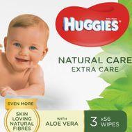 Servetele umede Huggies Natural Care Extra Care, 3 pachete x 56, 168 buc