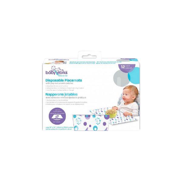 Suport de masă de unică folosință cu buzunar și benzi adezive, Baby Works,12 buc