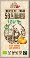 Ciocolata neagra BIO cu portocale, 56% cacao, 100 gr Chocolates Sole