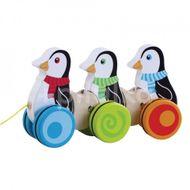 Jucarie de tras din lemn Pinguini JUMINI