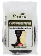 Chipsuri de banane invelite in ciocolata amaruie, 100g