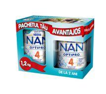 Pachet lapte praf Nestle NAN 4 Optipro, 800 g + 400 g, 2-3 ani